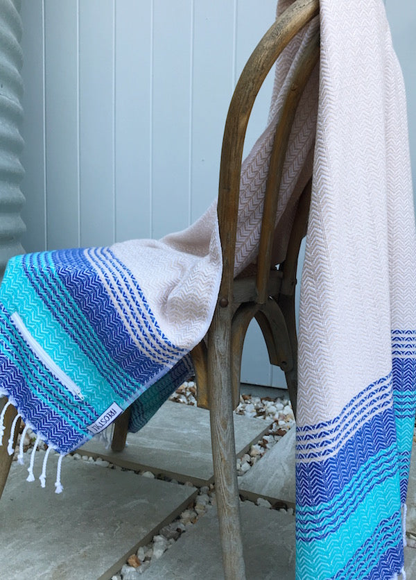 Freostyle Sandbanks beige and blue striped Turkish Towel with pocket, displayed