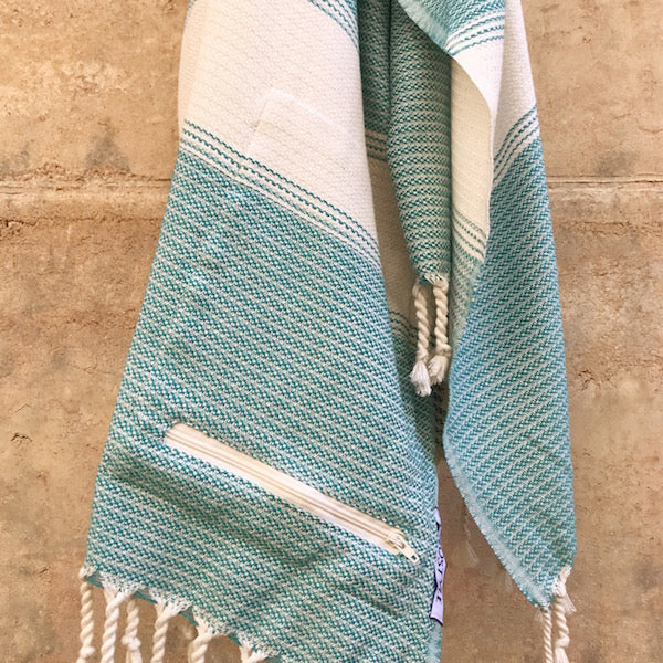 FREOSTYLE SEAGRASS TURKISH TOWEL WITH POCKET HUNG