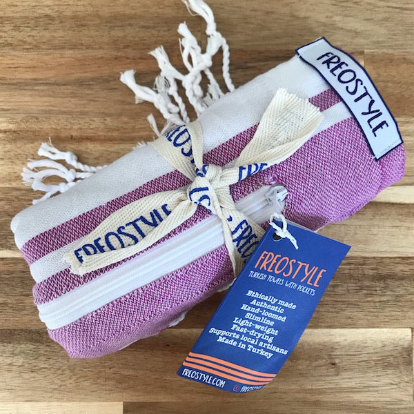 Freostyle GymTowel Lilac Stripe is fast-drying and lightweight, and rolls up super-small