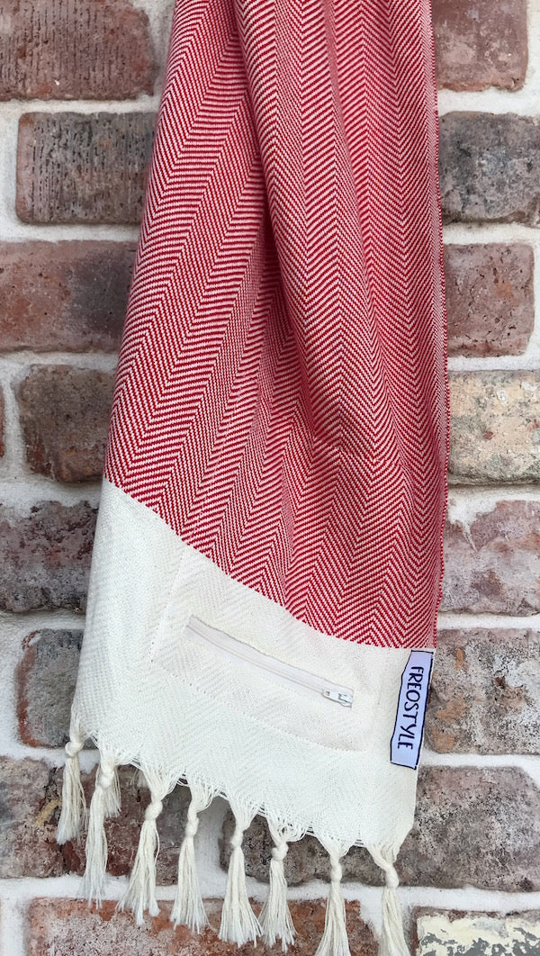 Freostyle GymTowel Red Chevron Turkish Towel