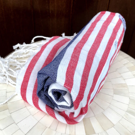 Havana Turkish Towel rolls up so small, it's perfect for the beach or pool