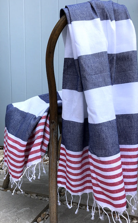 Havana, blue and red striped Turkish Towels