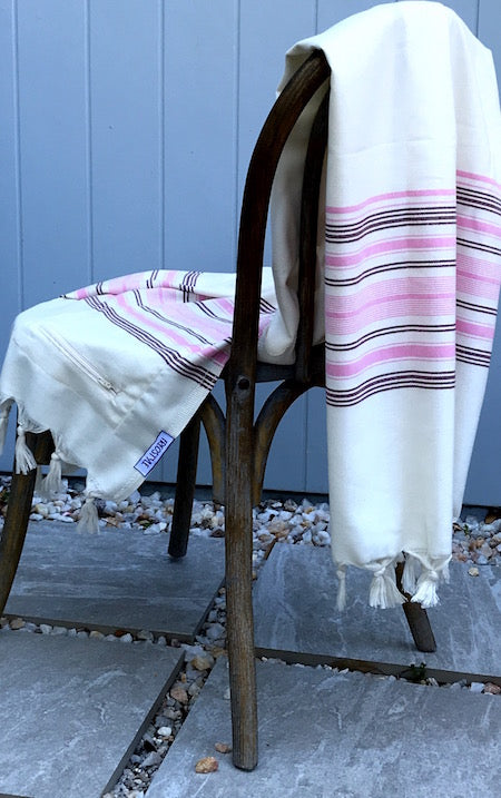 Heart Bamboo Turkish Towel displayed