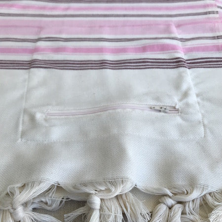 Heart Bamboo Turkish Towel with zip up pocket