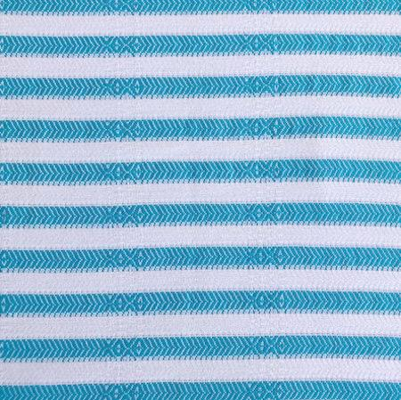 Lagoon Turkish Towel has turquoise and white stripes, 70% bamboo 30% turkish cotton