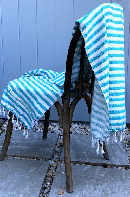 Lagoon Turkish Towel, displayed