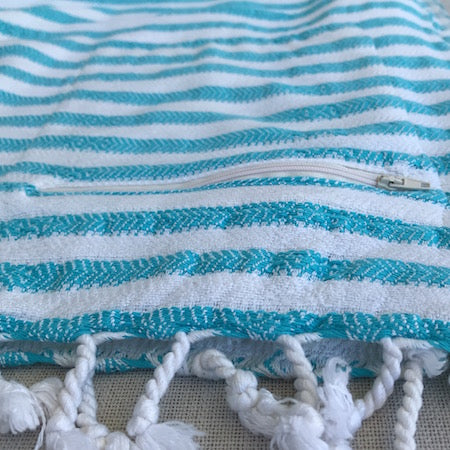 Lagoon Turkish Towel has a handy zip up pocket to stash your stuff in