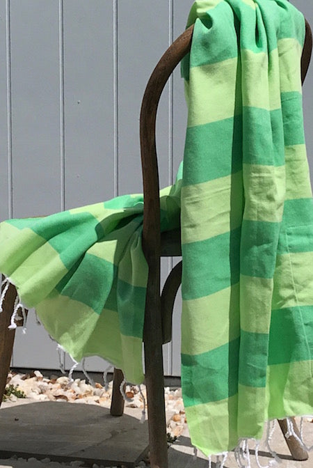 Limes green striped turkish towel, with a pocket, the perfect beach towel!