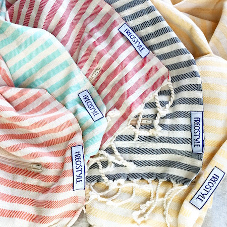Lolly, Mintie, Candy, Stargazer and Sand, unbleached cotton range Turkish Towels with pockets