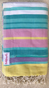 Malabar Pocketowel rocks a pastel stripe for a coastal vibe. Pocketowels are large beach towels with pockets