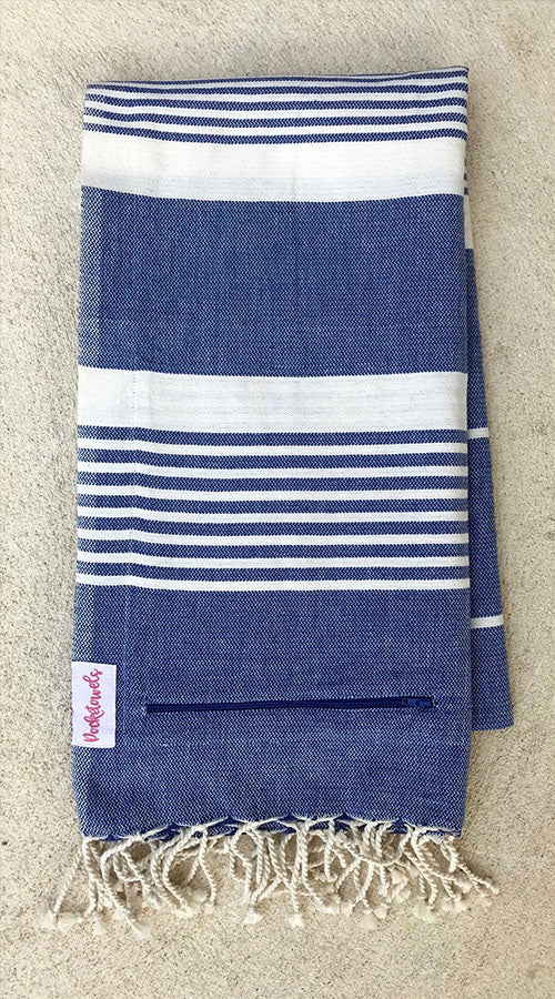 Marari Pocketowel is Blue and White stripe for a coastal vibe. Pocketowels are large beach towels with pockets