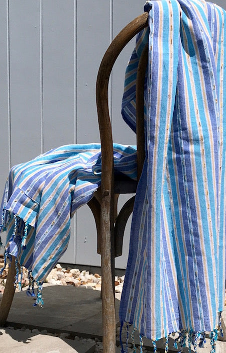 Oasis blue striped turkish towel with pocket - perfect for the beach!
