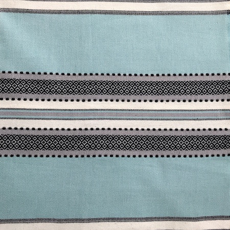 Oludinez turkish towel with pocket, striped with a traditional weave accent running through it