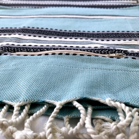 Ölüdeniz turkish towel with pocket, duck egg blue with a charming black, grey and white woven stripe