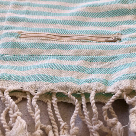 Poole Turkish Towel with Pocket, by Freostyle, close up of pocket