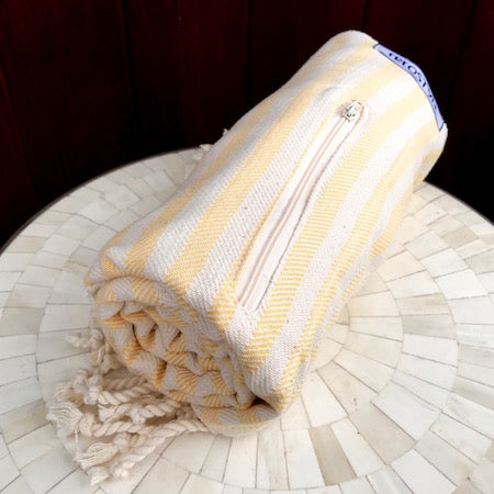 Sand Turkish Towel rolled