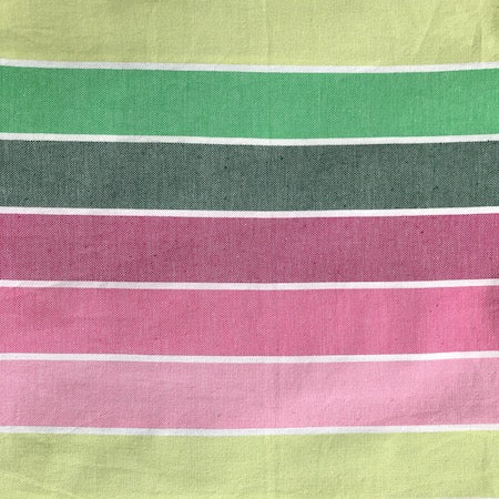Spring: turkish towel in a green and pink stripe.