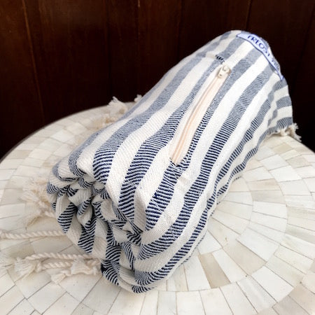 Star Gazer Turkish Towel rolls up small and thin