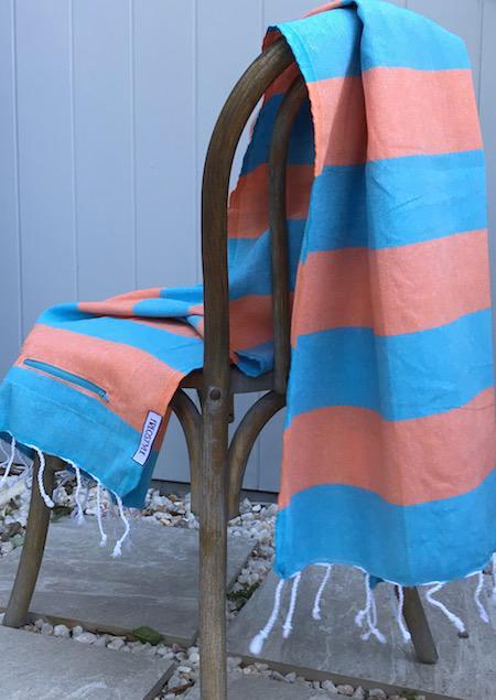 SunSea: bright and cheery authentic turkish towel in a bold blue and orange stripe