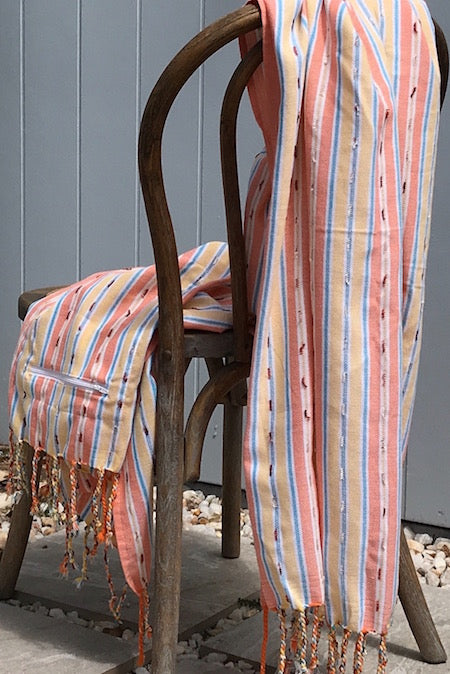 Sunset Stripe turkish Towel invokes the colours of the sun setting over the ocean