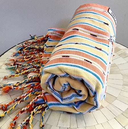 Sunset Stripe Turkish Towel with pocket - rolls up small so perfect for travelling