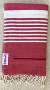 Varkala Pocketowel is Red and White stripe for a coastal vibe. Pocketowels are large beach towels with pockets