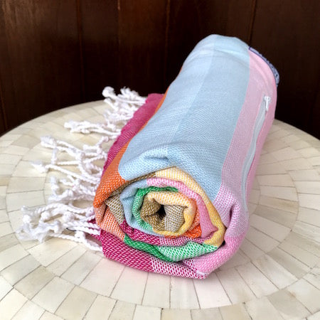Our Wildflowers turkish towel is light-weight and rolls up so small!