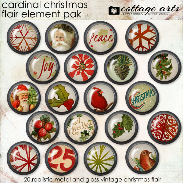 Cardinal Christmas Flair Element Pak