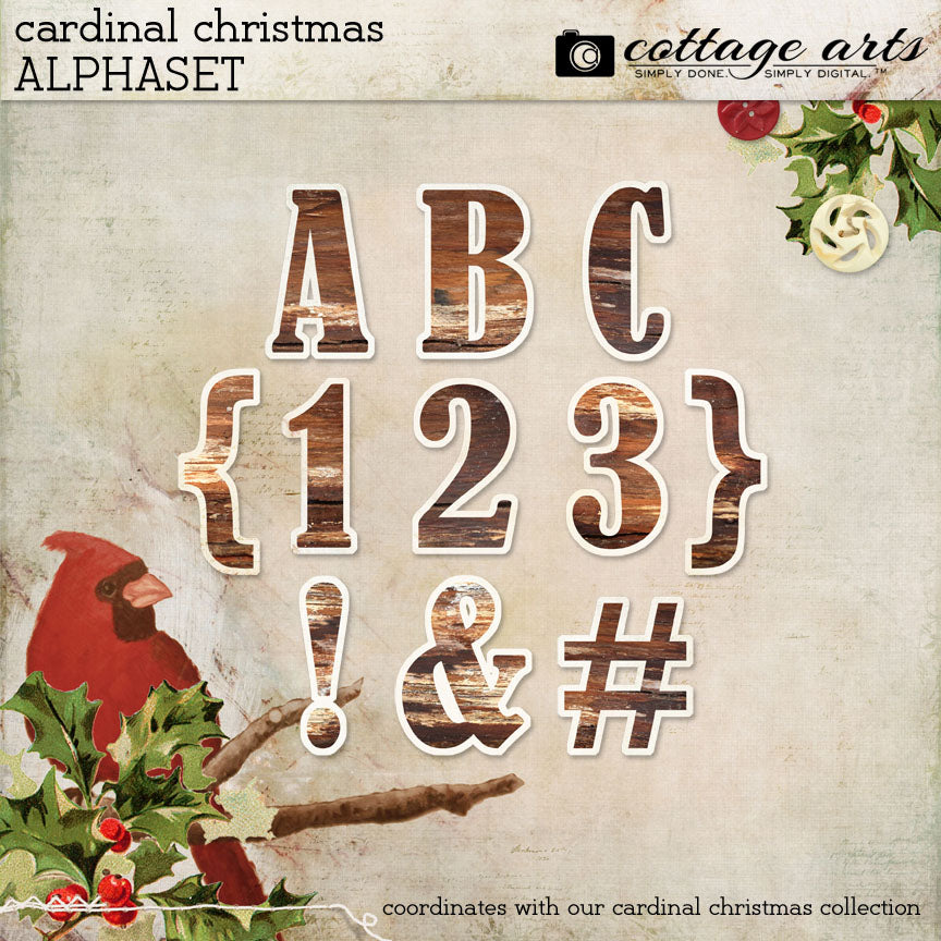 Cardinal Christmas AlphaSet