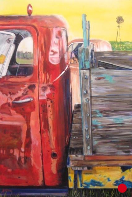 SOLD Red Farm Truck, 36 x 24