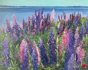 "SOLD- Lupins in PEI, 24 x 30"" Acrylic on canvas"