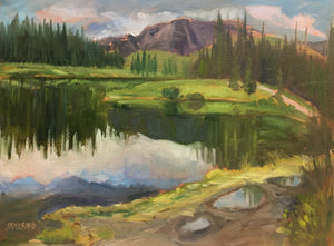 "Forget-me-not Pond, Bragg Creek, 12 x 16"" Oil Plein air"