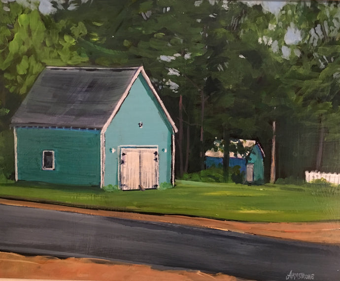 Two Green Sheds, PEI, 11 x 14