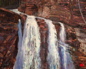 "SOLD .... Towering Falls, 24 x 30"" Acrylic on canvas"