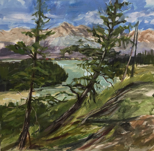 Train in the Valley, Hinton, 12 x 12