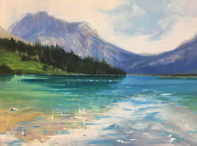"Emerald Lake Jewels, 30 x 40"" oil, SOLD by Lineham House Gallery"