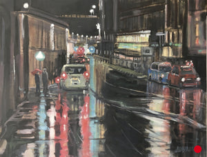 "SOLD Rainy Night in Scotland, 18 x 24"" Framed"