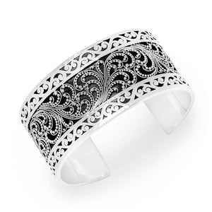 Medium Classic Granulation & Signature Scroll Cuff