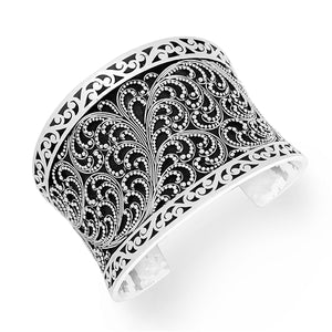 Granulated Scroll Cuff w/Cutout Border - Lois Hill Jewelry