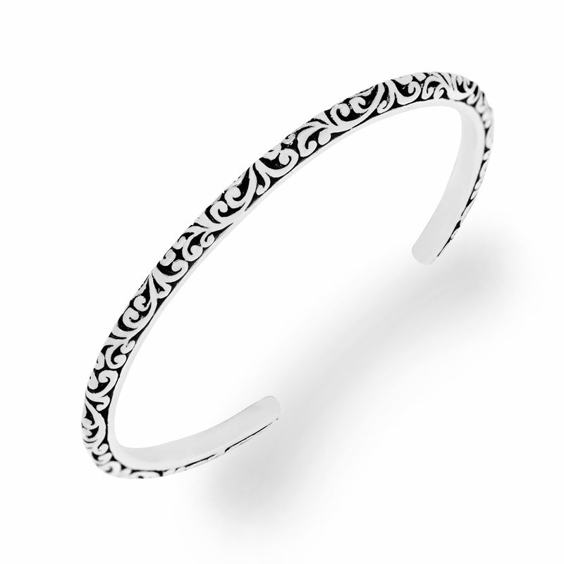 Classic Signature Scroll Sterling Silver Rounded Cuff
