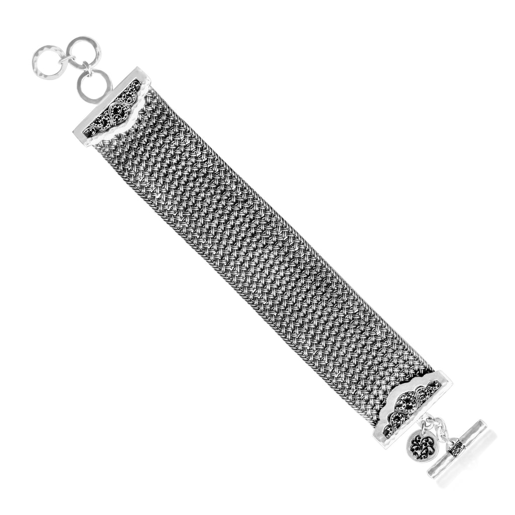 Large Textile Weave Bracelet with Granulated Ends Bracelet