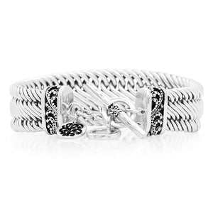 Medium Classic Tapered Figure-8 Weave Bracelet w/Granulated Ends