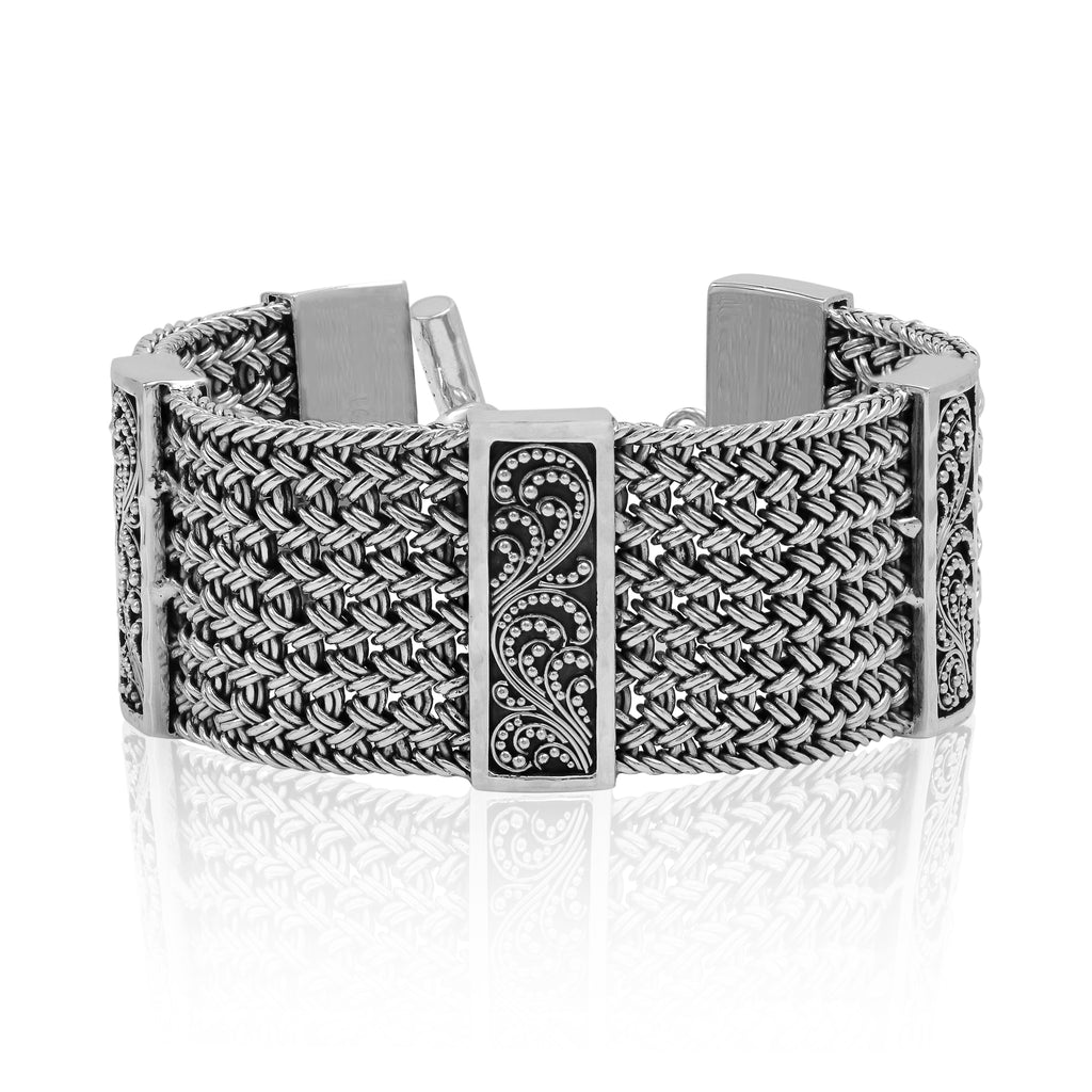 Large Textile Weave Bracelet with Granulation Stations