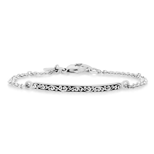 Signature Scroll ID Double Chain Bracelet - Lois Hill Jewelry