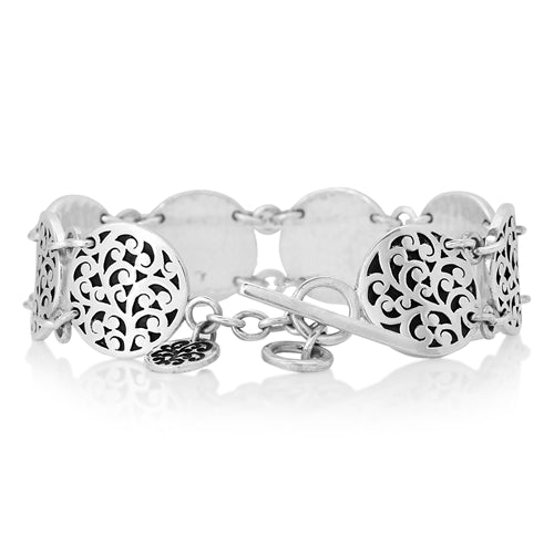 Classic Signature Scroll Disc Station Bracelet
