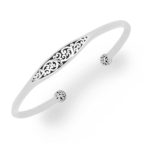 Signature Scroll ID cuff with Ball Ends