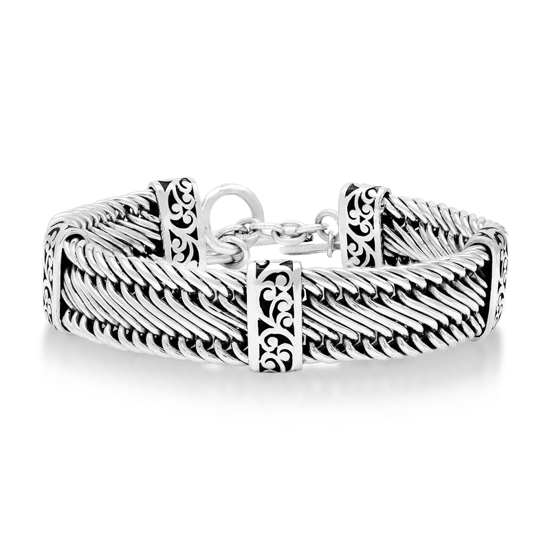 Figure 8 Weave with Signature Scroll Station Bracelet - Lois Hill Jewelry