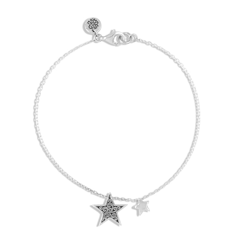 LH Signature Scroll Star with Tiny Delicate Star Dainty Bracelet