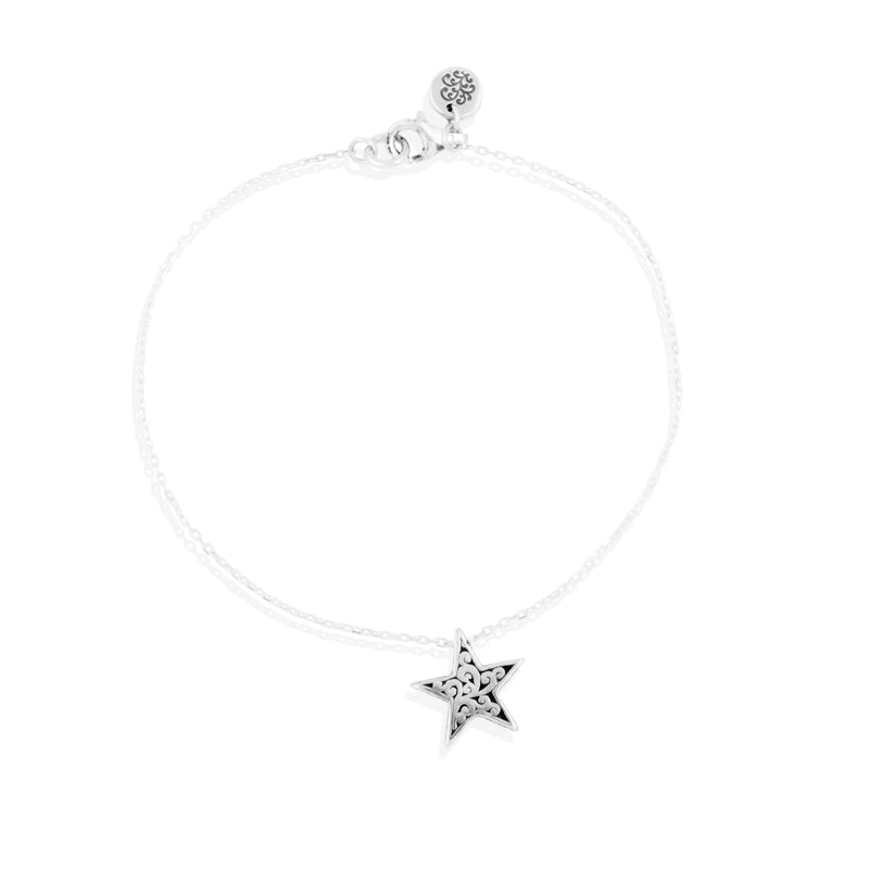 LH Signature Scroll Star Charm Dainty Bracelet