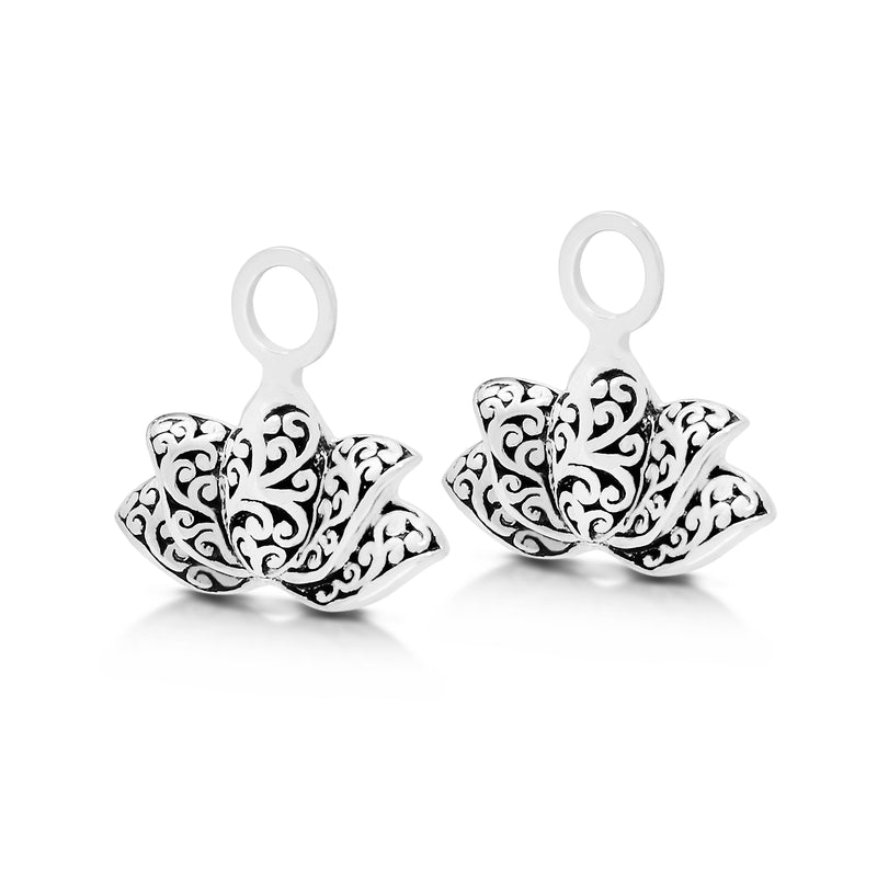 Lotus LH Scroll  Earrings Charm (14mm * 8mm)